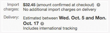 eBayからの個人輸入による関税等諸経費