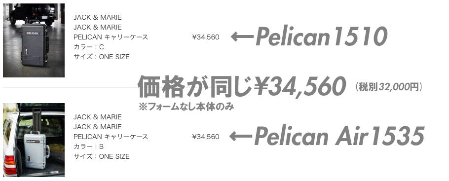 オートバックスではなぜかペリカンケース 1510とペリカンAIRケース1535が同じ価格!